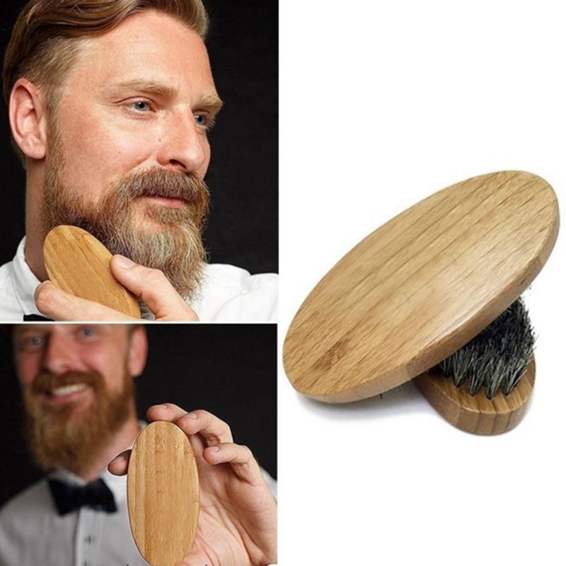 1Pcs 8cm Boar Bristle Beard Brush Comb For Men Shaving Bamboo Face Massage Comb Beards Handmade Mustache Brush Beauty Care Tool