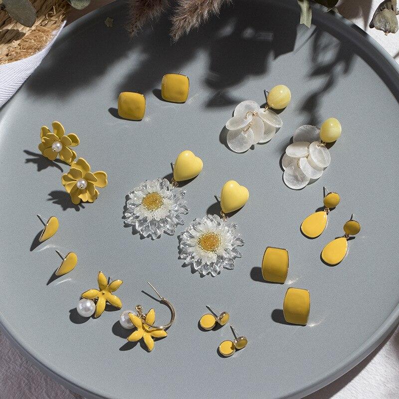 2020 Korean Fashion Women Cute Yellow Flowers Round Heart Drop Earrings for Women Geometric Long Tassels Dangle Earrings Jewelry