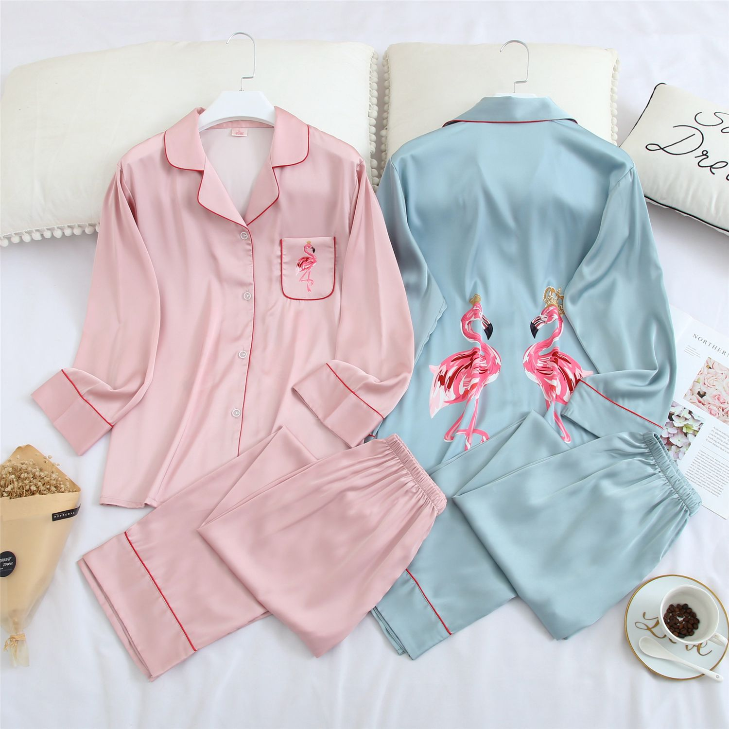 Spring New Chiffon Long Sleeve Pajamas Women Printed Lapel Cute Pajamas Satin Sleepwear