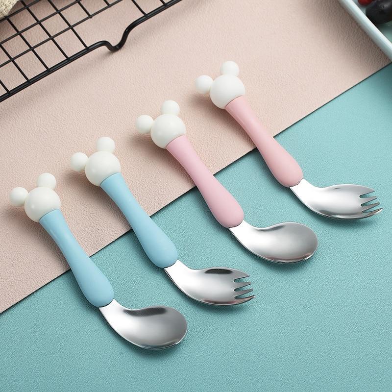Baby Feeding Spoon Fork Kids Cartoon Mickey Head Spoon Fork Creative Bending Dining Training Spoons Stainless Steel Tableware