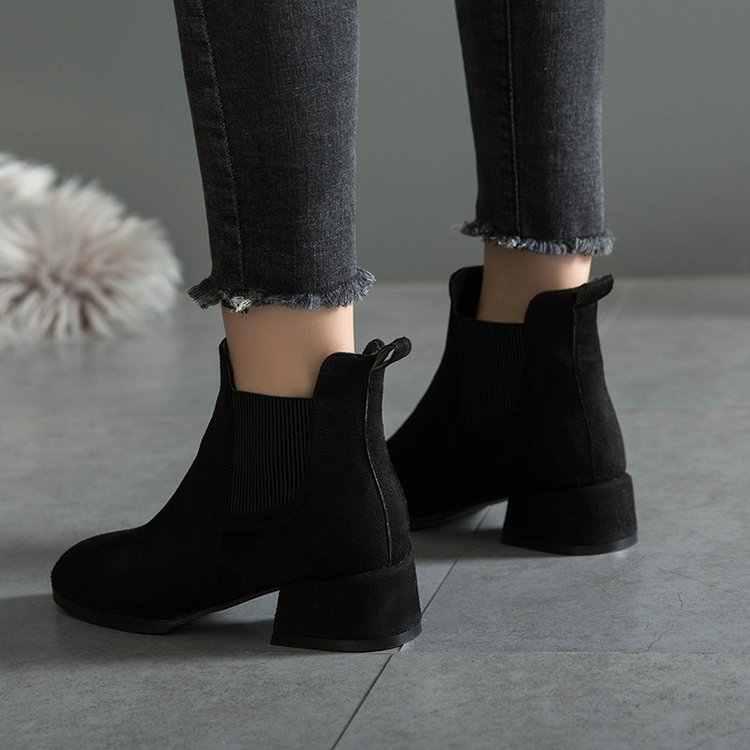 Dropshipping Herbst Winter Stiefel Frauen Kamel Schwarz Stiefeletten für Frauen Starke Ferse Slip auf Damen Schuhe Stiefel Bota Feminina
