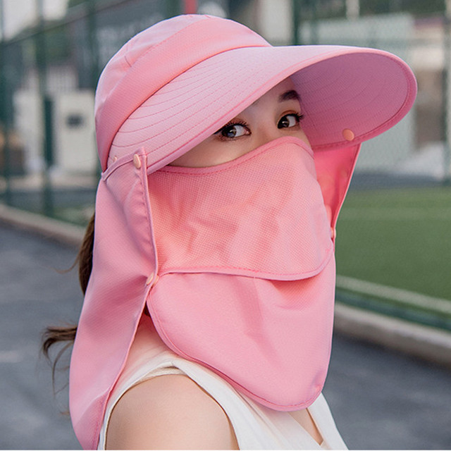 Summer Women Girl Anti Flu virus Hat Mask Sun Protective Breathable Anti-UV Double Layer маска для Headwear Cotton Cycling Cap 5