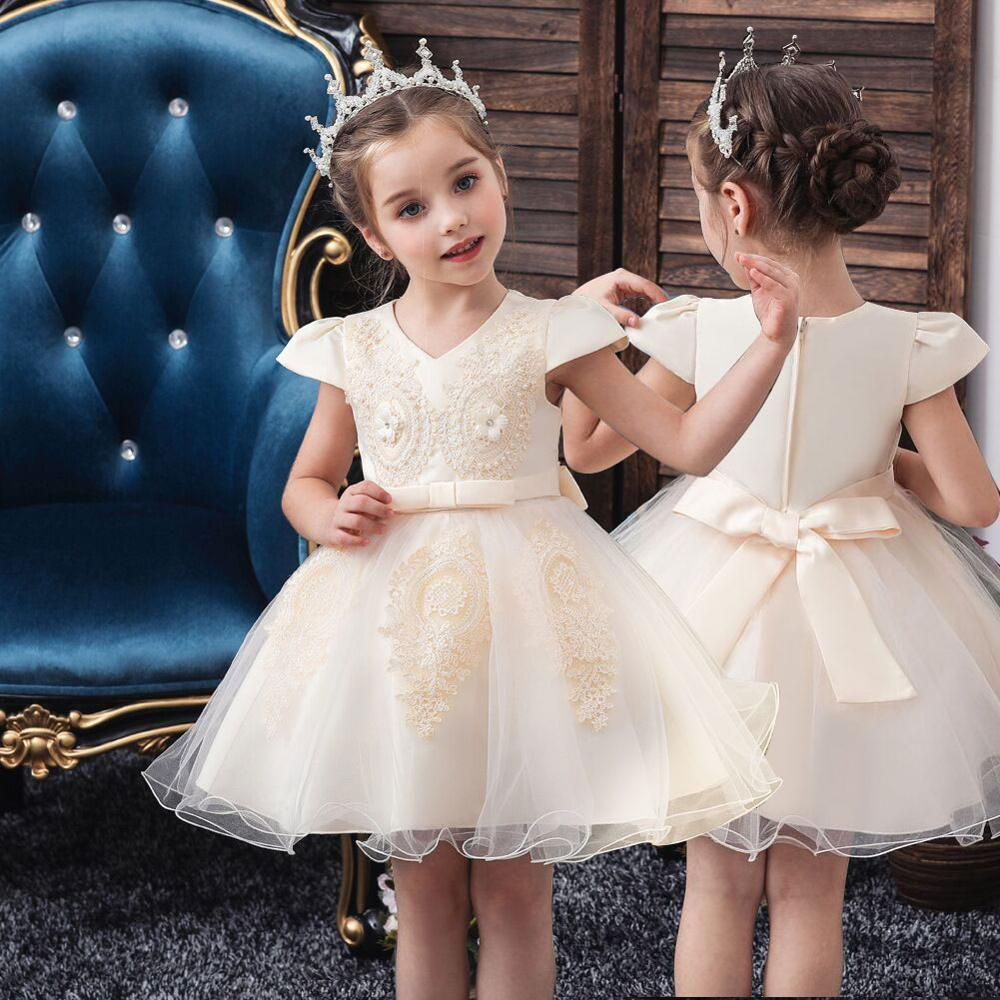 Girls Europe and America short-sleeved wedding princess fluffy dress lace silk flower girl dress college host new children's dre image