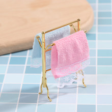 1:12 Scale Metal Free-Standing Hand Towel Drying Rack with 2 Towels for Dollhouse Bathroom, Laundry Room, Kitchen(China)