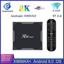 Caixa de tv smart x96 max plus, box com android 9.0, amlogic s905x3, 4gb 32gb 64gb 8k 1080p hd media player dupla wifi x96max, set top box