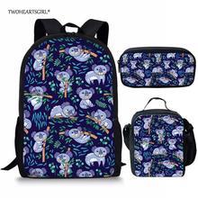 Twoheartsgirl Children School Bag Sets Unique Jungle Koala P