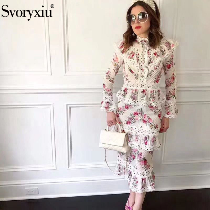 Svoryxiu Runway Designer Autumn Elegant Two Piece Set Women's Lace Embroidery Flower Print Sexy Party Mermaid Skirt Suit