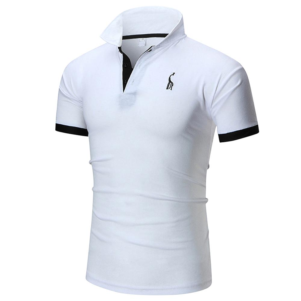 Men Short-Sleeves Summer Tops Male Lapel Button Embroidery Business Casual Polo Shirt