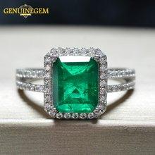 Женское кольцо из серебра 100% пробы с изумрудом
