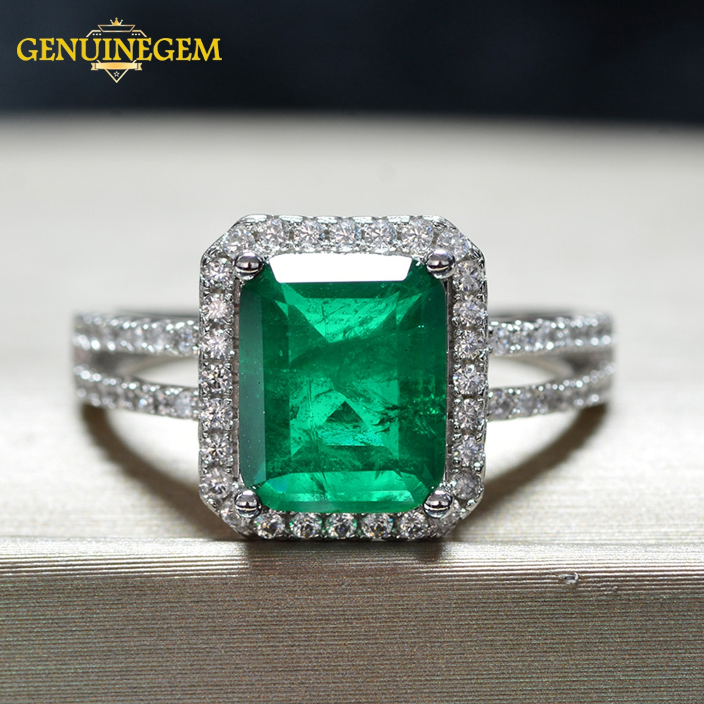 Jewepisode Luxury Top Quality Emerald Rings for women 100% 925 Sterling Silver Anniversary Party Cocktail Ring Fine Jewelry Gift