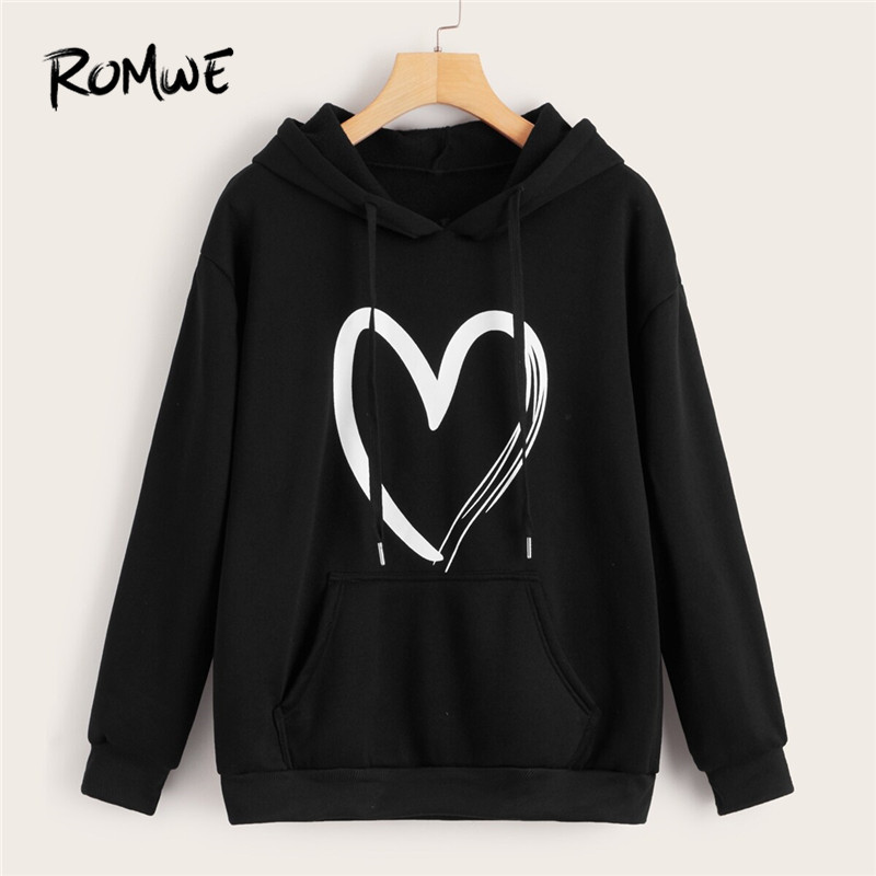 ROMWE Heart Print Kangaroo Pocket Drawstring Women Hoodies Casual Long Sleeve Sweatshirt Fall 2019 Womens Clothing Hoodie Tops