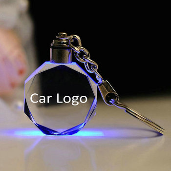 Customized Auto Logo K9 Crystal Key Chains Gift Car King Decoration Laser Engraved Patterns with LED Colorful Light - discount item  43% OFF Home Decor