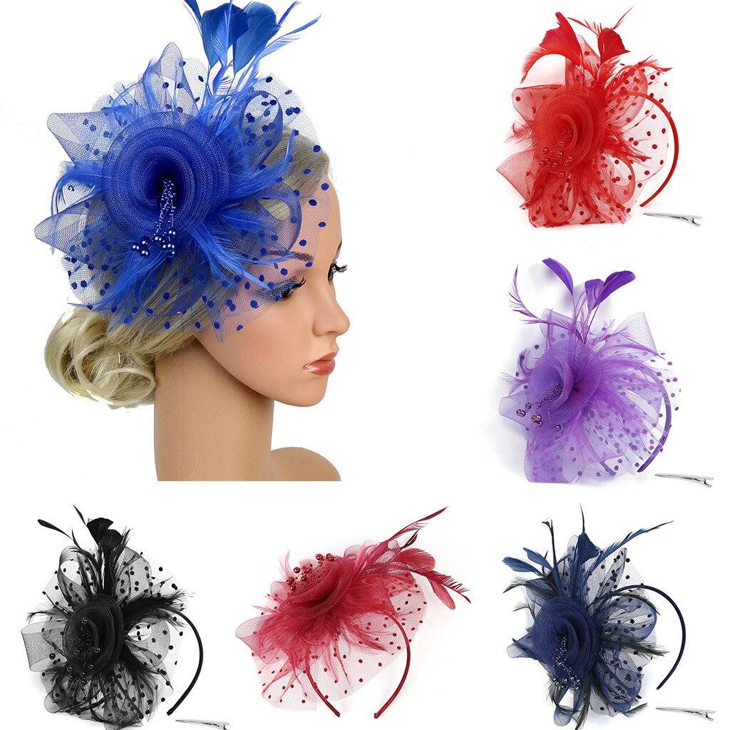 Women Hair Clip Feather Wedding Casual Fascinator Great Gatsby Headband Pearl Charleston Party Bridal Floral Church Headwear NEW