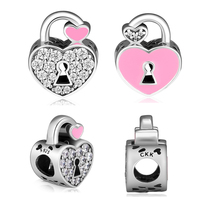 Love Beads 100% 925 Sterling Silver Padlock Pave Charm for Jewelry Making Fit Charms Bracelets free shipping YK091