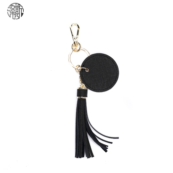 Zenos Ins Saffiano Leather Tassel Key Ring Holder Jewelry Gift Men Women Bag Accessory image