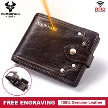 Free Engraving Gift 100% Genuine Leather Wallet Men Coin Purse Small Card Holder Clutch PORTFOLIO Portomonee Soft Walet Pocket