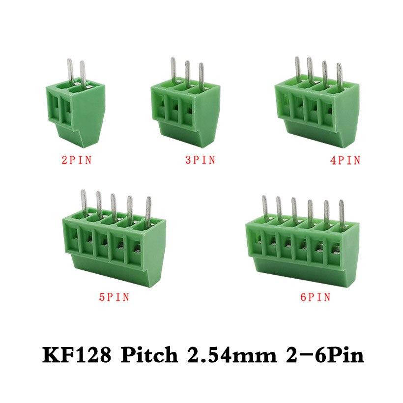 10 шт./лот KF128-2.54mm 2-6Pin Клеммная колодка KF128 шаг 2,54 мм 2p 3p 4 5 6p PCB мини Винтовые клеммы разъема