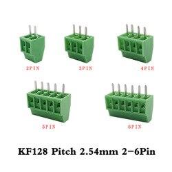 10 unids/lote KF128-2.54mm 2-6Pin Bloque de terminales de tornillo KF128 2,54mm Paso 2p 3p 4p 5, p 6p PCB Mini Bloque de terminales de tornillo conector de bloque de terminales