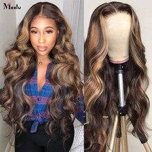 Perruque Lace Frontal Wig Body Wave brésilienne – Meetu, perruque à reflets ombrés, brun blond miel, 13x4, perruque pour femmes