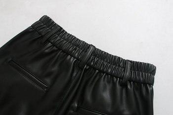 2020 New Fashion Autumn Winter Women High Waist Black Faux Leather Pants Lady PU Loose Pencil Trousers Elegant Pocket Streetwear 6