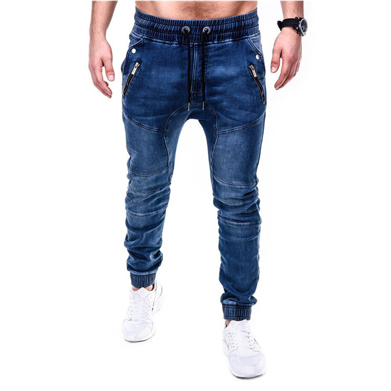 2020 New European And American Men's Stretch Wash Denim Casual Sweatpants  Zipper Pockets  Skinny Jeans Men