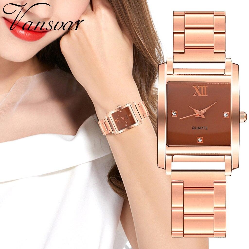 2019, Vansvar, роскошные женские часы, кварцевые, с экраном, нержавеющая сталь, стальная полоса, женские наручные часы, reloj mujer relogio feminino
