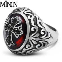 MINCN Mens Stainless Steel Ring Epoxy Red Domineering Crude Army Customizable Punk Style Handmade