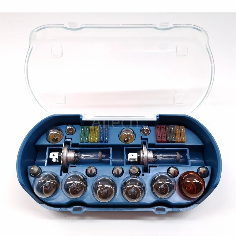 Car Emergency Kit Halogen Bulb H4 H7 H1 12V 60/55W P43T 1157 P21S25 ATC FUSE T10 W5W BAY15D R5W Multi-model Lamp Combination Set