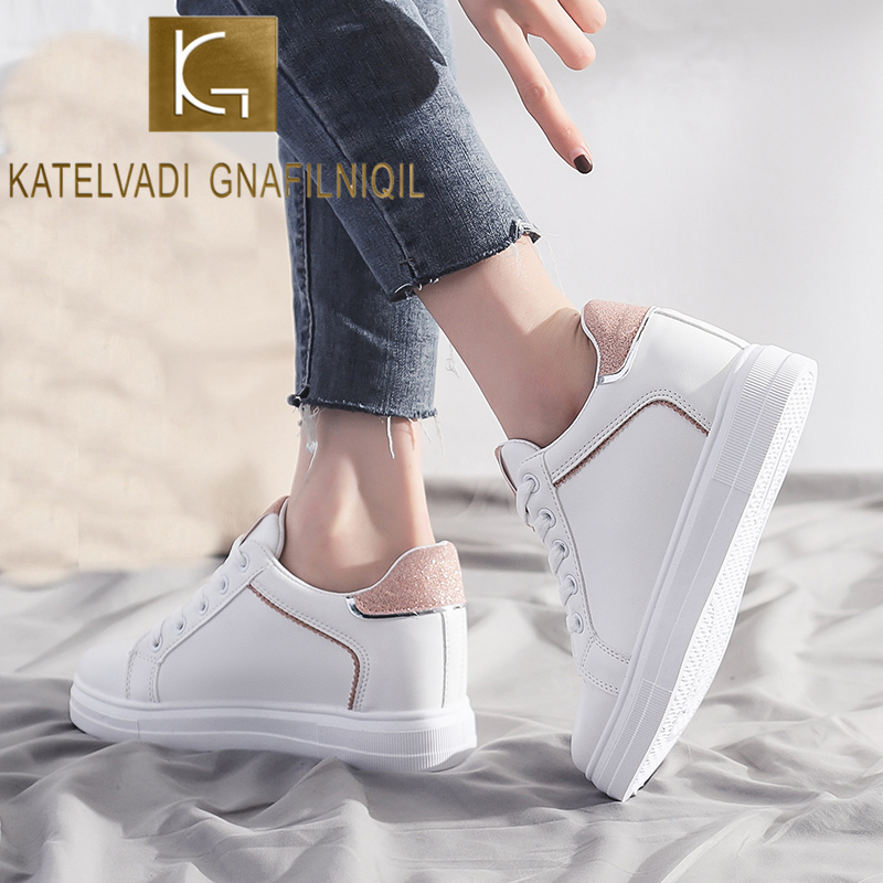 KATELVADI Hidden Heel Sneakers Student Ladies Casual Lace Up Vulcanize Shoes White Shoes  FL009