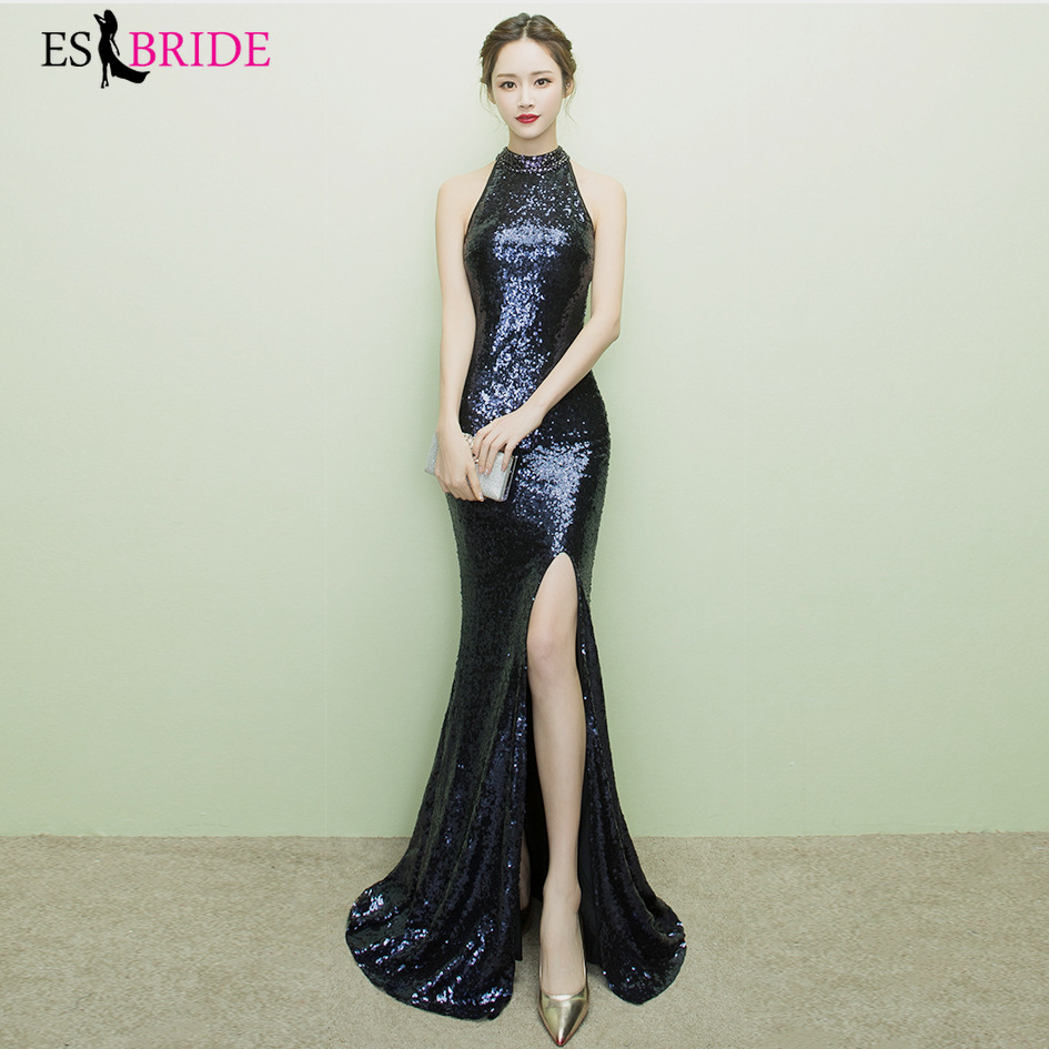 Black Sequined Evening Dresses ES30213 Halter Neck Mermaid Split Formal Dress Women Elegant Gowns For Party Abiye