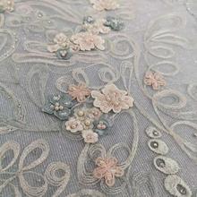 Bene pesante a mano ricamato in rilievo del tessuto Francese del merletto Africano del merletto del merletto Nigeriano adatto per il FAI DA TE abbigliamento tessuto del vestito da sposa