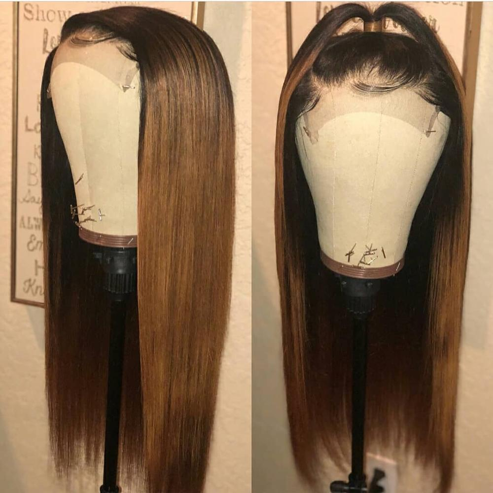Image 4 - Brazilian Straight Lace Front Human Hair Wigs For Black Women Ombre Color Remy Hair Glueless Pre Plucked 13*4 Lace Wig Baby Hair-in Human Hair Lace Wigs from Hair Extensions & Wigs