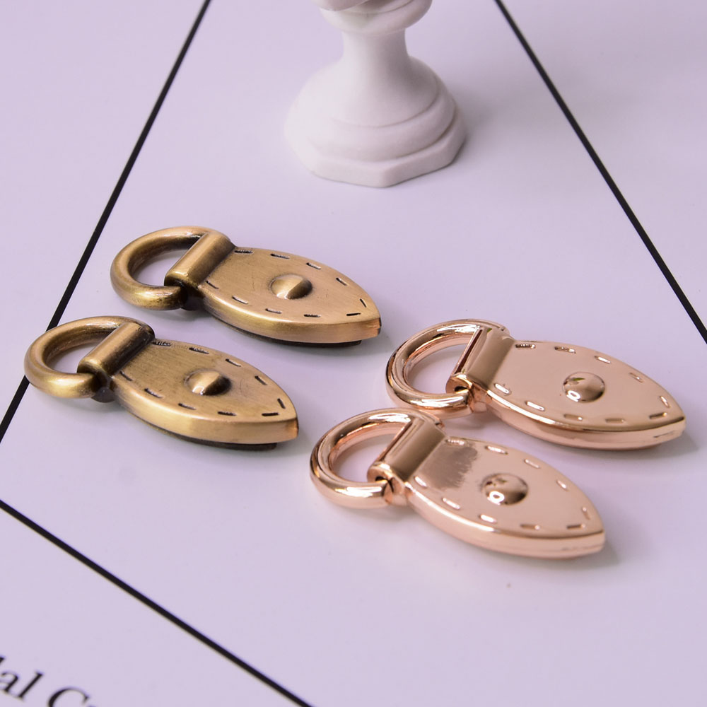 4pcs Metal Leaf Shape Bag Anchor D-ring Strap Clasp Bag Accessories Connector Anchor Buckles With Screws Hanger Hooks #C