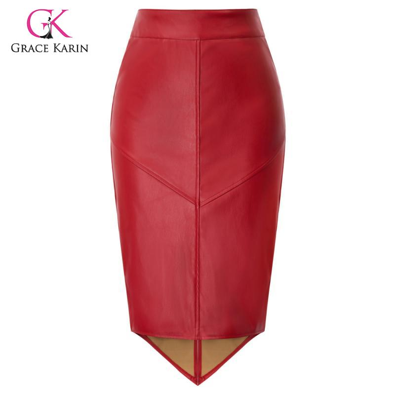 Grace Karin Women PU Leather Pencil Skirt Red/Black Faux Leather Asymmetrical Skirts Office Lady Knee Length Bodycon Midi Skirt