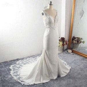 Image 5 - RSW1591 Vestido De Noiva Strech Satin Lace Mermaid Wedding Dresses 2020 Mouwloze Cut Out Trein
