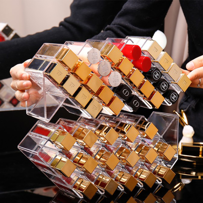 28/16 Grid Lipstick Storage Box Cosmetic Organizer Lipstick Display Stand Transparent Plastic Box Acrylic Stackable Save Space