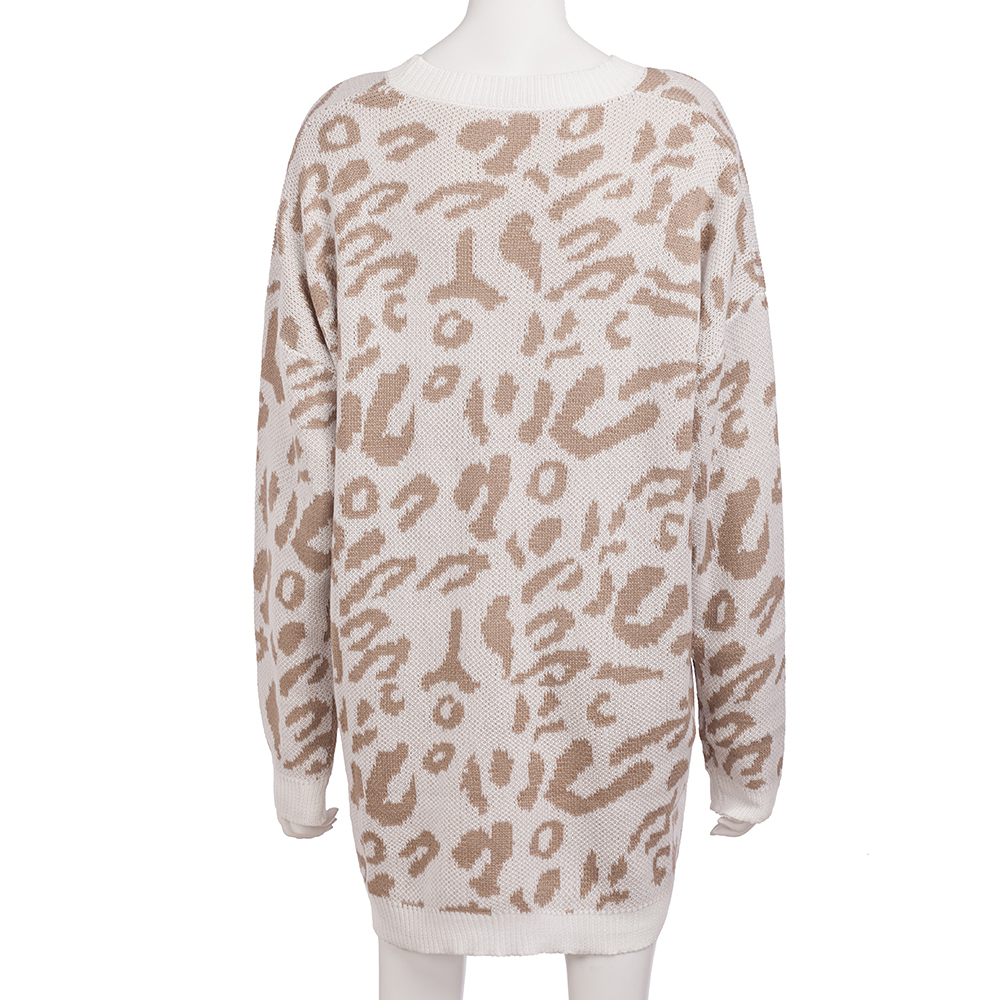 Dilusoo Leopard Print Winter Knitted Sweater Women O-neck Long Sleeve Loose Sweaters Female 19 Casual Autumn Overalls Sweaters 22
