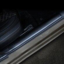 Lsrtw2017 Carbon Fiber Leather Car Door Edge Sill Threshold Sticker for Skoda Octavia Superb 2016 2017 2018 2019 2020 lsrtw2017 carbon fiber abs car door sill cover protective threshold trims for skoda karoq