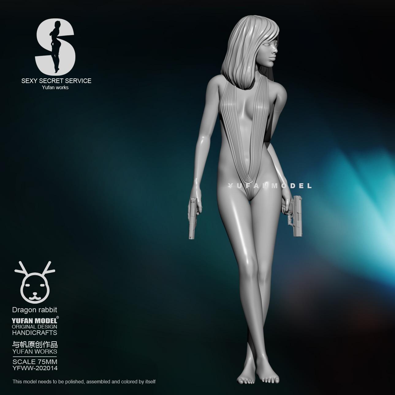 75MM Resin Kits  Yufan Model Sexy Agent  Self-assembled YFWW-201908