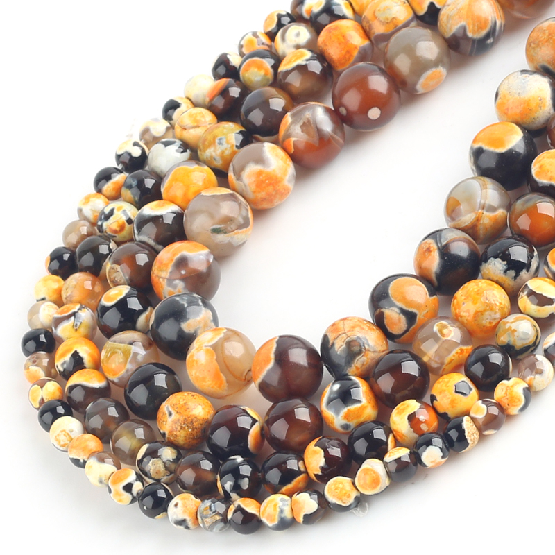 DIY Jewelry Making beads Focal Banded Fire Agate 20mm x 15mm Loose Bead Drum Barrel Column Green Gold Rust Orange Brown Chartreuse