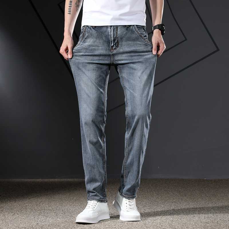 KSTUN Men's Jeans Classic Straight Regular Fit Grey Blue Stretch Jeans for Men Spring Summer Casual Denim Pants Long Trousers 14