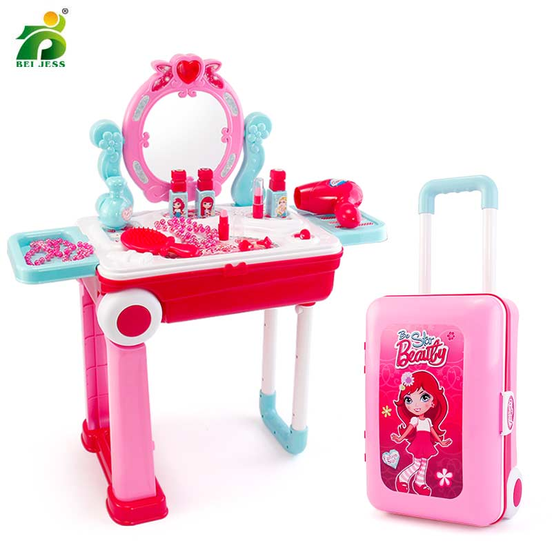 19Pcs Girls Make Up Toy Plastic Set Kids Pretend Play Princess Game Pink Nail Polish Lipstick Change Suitcase Toys For Children