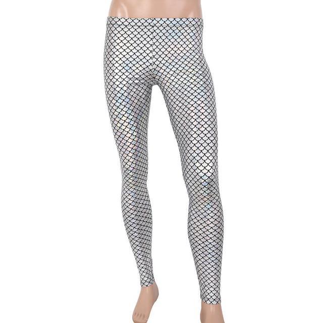 Men Pants Adults Man Shiny Mermaid Fish Scale Print Mid Rise Elastic Waistband Skinny Leggings Tights for Music Festival Costume 3