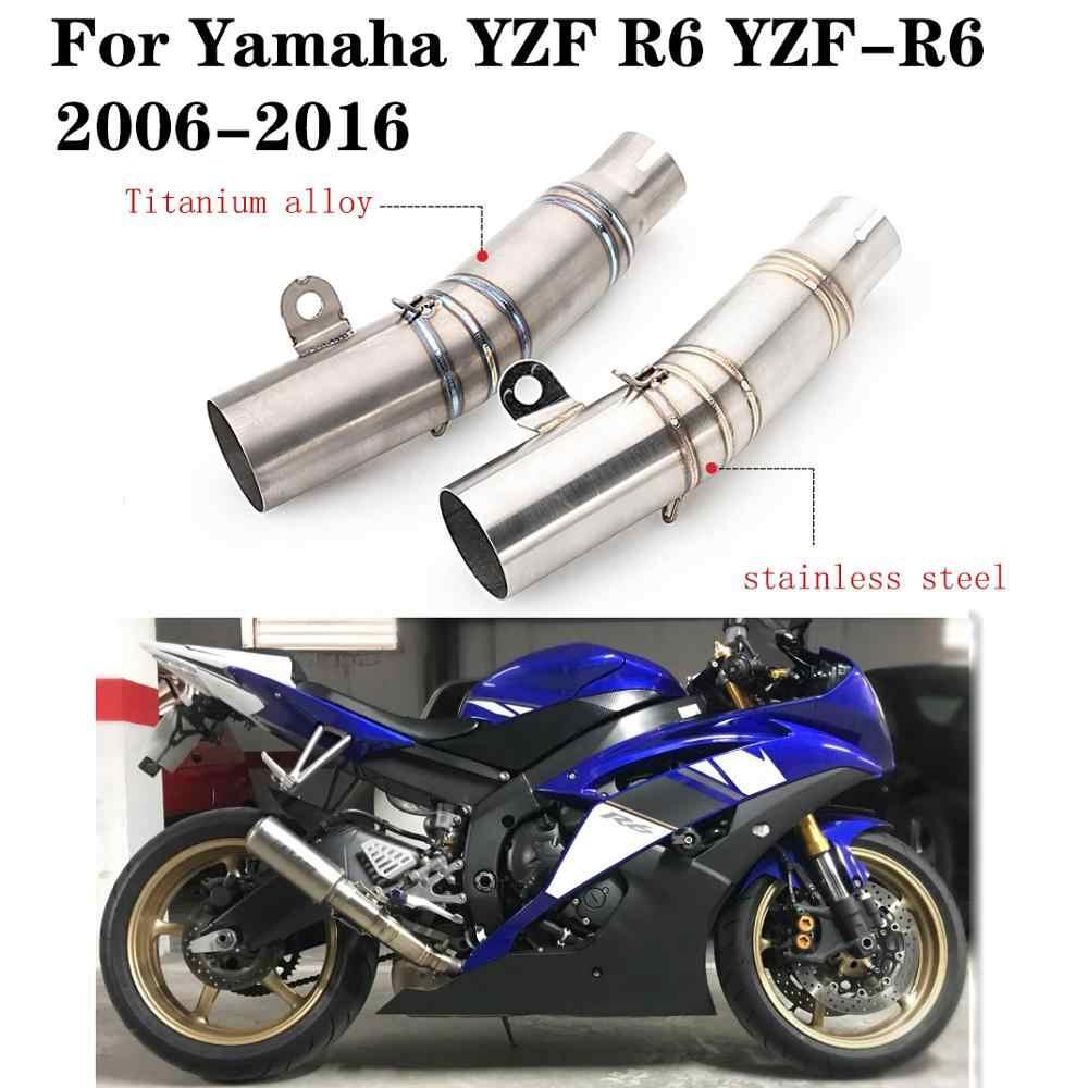 Motocykl wydechowy ucieczka ogon wydechowy tłumik do rury Slip On Mid Link rura łącząca ze stali nierdzewnej dla YZF R6 YZF-R6 2006-2016