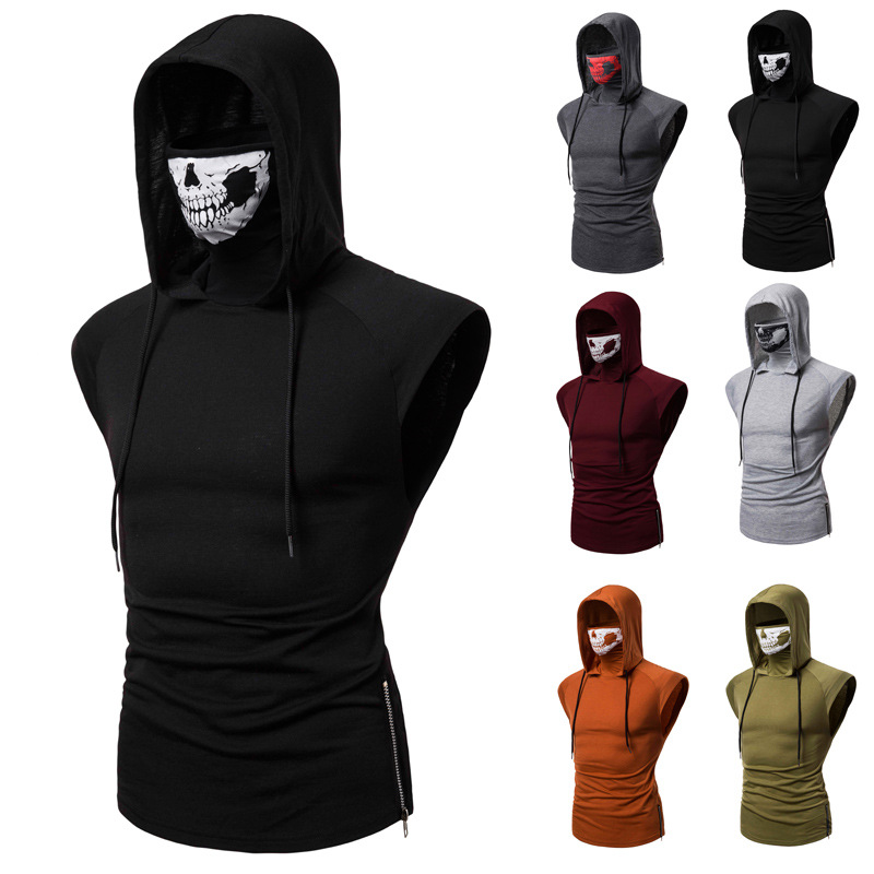 Spandex Suit for Men Hooded Sleeveless Tank Tops Duty Ghost Skull Mask Tank Tops image