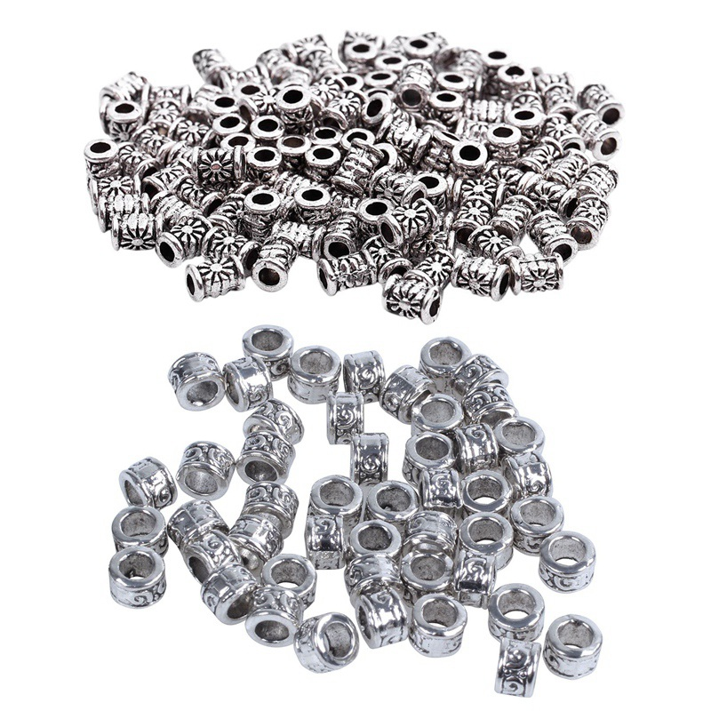170 Pcs Spacer Beads : 50 PCS Swirl Spacer Beads Fit Charm Bracelet With 120 Pcs Silver Tone Carved Tube Spacer Beads 4X6Mm ,DIY