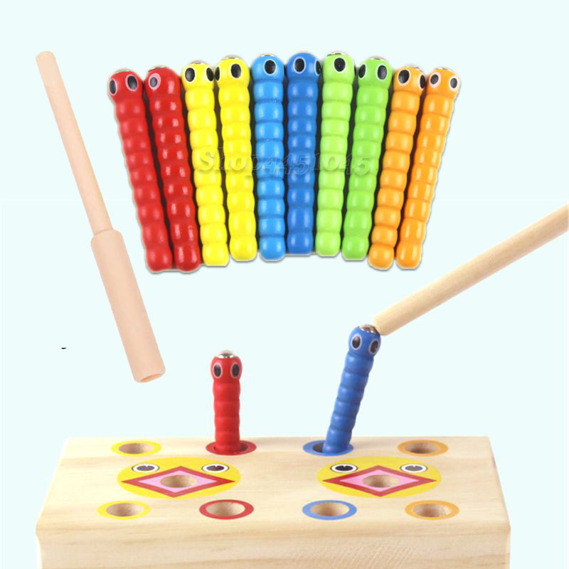 Montessori Math Toy Caterpillar Eats The Wand Kids Catch Worms Matching Pair Games Early Educational Interactive Math Toy(China)