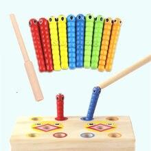 Montessori brinquedo de matemática caterpillar come a varinha crianças pegar vermes correspondência par jogos cedo educacional brinquedo de matemática interativa