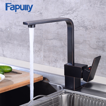 Fapully Bathroom Basin Faucet Mixer Oil Rubbed Bronze Bathroom Sink Faucet Tap Vessel Sink Hot Cold Water Tap Mixer 539-33ORB deck mount waterfall glass spout basin sink faucet square shape bathroom vessel sink mixer taps oil rubbed bronze