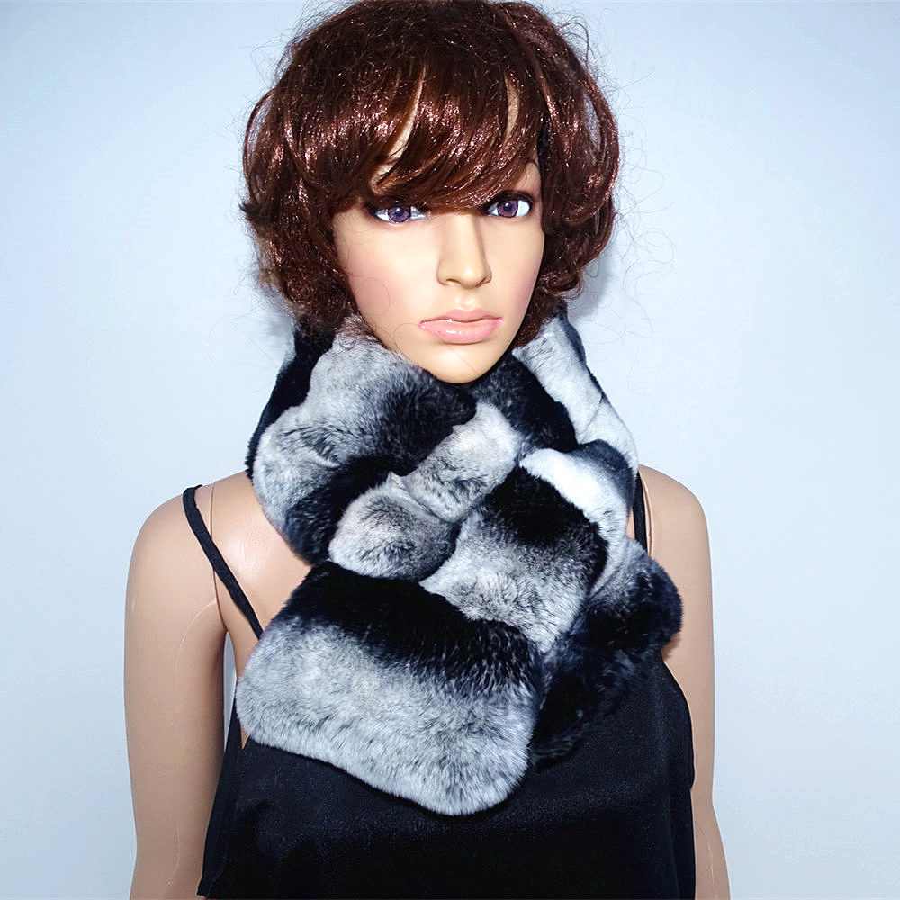 Chinchilla Real Rex  Fur Neck Female Natural Fur Whole Skin Rex Rabbit Scarf  Low-price Sales Are Limited